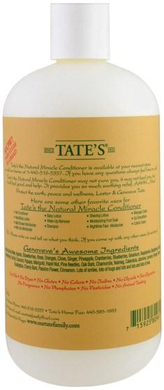 洗澡,美容,頭髮,頭皮,洗髮水,護髮素,健康,皮膚 - Tates, The Natural Miracle Conditioner, 18 fl oz
