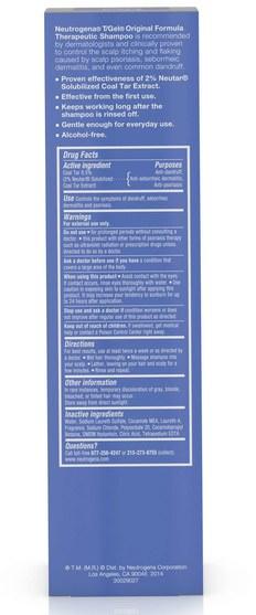 洗澡,美容,頭髮,頭皮,洗髮水,護髮素 - Neutrogena, T/Gel, Therapeutic Shampoo, Original Formula, 16 fl oz (473 ml)