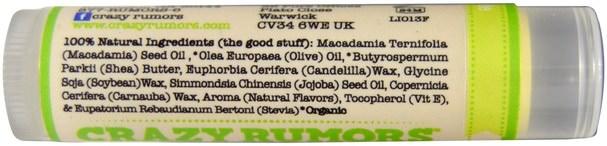 洗澡,美容,唇部護理,唇膏 - Crazy Rumors, 100% Natural Lip Balm, Limeade, 0.15 oz (4.4 ml)