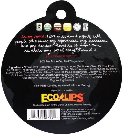 洗澡,美容,唇部護理,唇膏 - Eco Lips POGO, Organic Lip Balm, Apricot Peach, 0.15 oz (4.25 g)