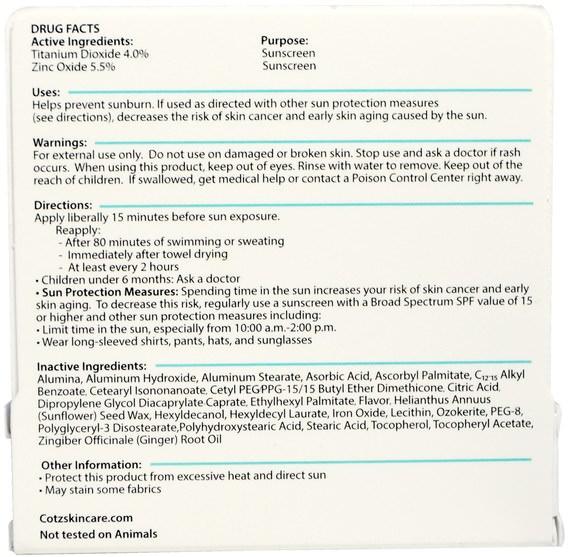 洗澡,美容,唇部護理,唇膏,面部護理,spf面部護理 - Cotz, Lip Balm, SPF 45, 0.14 oz (4.5 g)