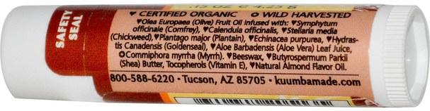 洗澡,美容,唇部護理,唇膏 - Kuumba Made, Herbal Lip Balm, Almond, 0.15 oz (4.25 g)