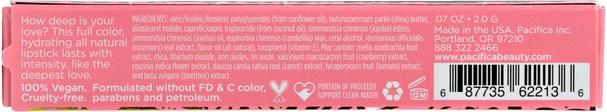 洗澡,美容,口紅,光澤,襯墊 - Pacifica, Devocean, Natural Lipstick, XOX.07 oz (2.0 g)