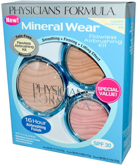 沐浴,美容,化妝,腮紅,粉餅 - Physicians Formula, Mineral Wear, Flawless Airbrushing Kit, Light Complexion