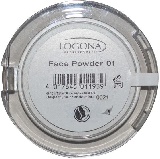 沐浴,美容,化妝,粉餅 - Logona Naturkosmetik, Face Powder, Light Beige 01, 0.352 oz (10 g)