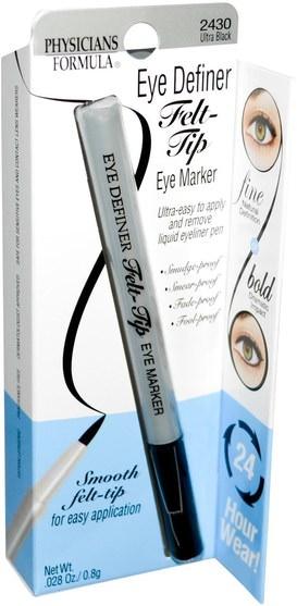 洗澡,美容,化妝,眼線 - Physicians Formula, Eye Definer, Felt-Tip Eye Marker, Ultra Black.028 oz (0.8 g)