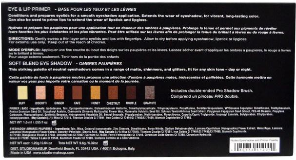 沐浴,美容,化妝,眼影,修飾棒遮瑕膏 - Studio Makeup, Nudes Eyeshadow Palette with Eye & Lip Primer, 0.32 oz (9.6 g)