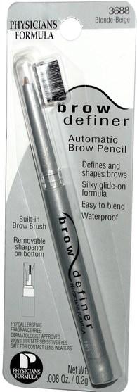洗澡,美容,化妝,眉筆 - Physicians Formula, Brow Definer, Automatic Brow Pencil, Blonde-Beige.008 oz (0.2 g)