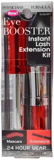 洗澡,美容,化妝,睫毛膏 - Physicians Formula, Eye Booster Instant Lash Extension Kit, Ultra Black, 2 Piece Kit