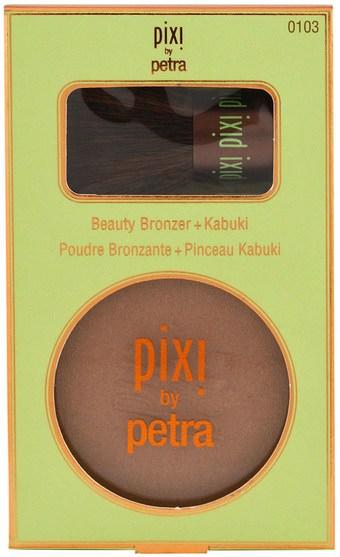 洗澡,美容,化妝工具,化妝刷,閃光/古銅色粉末 - Pixi Beauty, Beauty Bronzer + Kabuki, Summertime.36 oz (10.21 g)