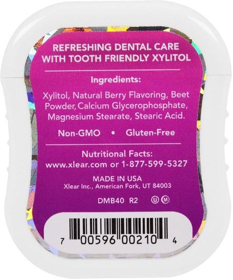 洗澡,美容,口腔牙齒護理,木糖醇口香糖 - Xlear, Spry Gems, Mints, Berry, 40 Count, 25 g