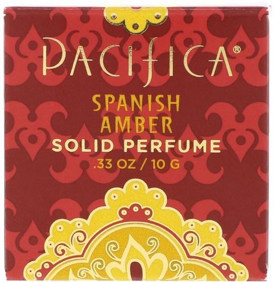 沐浴,美容,香水,香水噴霧 - Pacifica, Solid Perfume, Spanish Amber.33 oz (10 g)