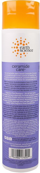 洗澡,美容,洗髮水,頭髮,頭皮,護髮素 - Earth Science, Ceramide Care, Fragrance Free Shampoo, 10 fl oz (295 ml)