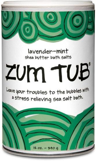 洗澡,美容,乳木果油,沐浴鹽 - Indigo Wild, Zum Tub, Shea Butter Bath Salts, Lavender-Mint, 12 oz (340 g)