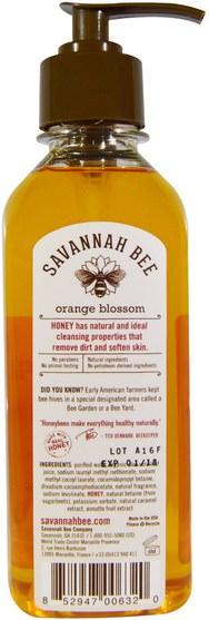 洗澡,美容,肥皂 - Savannah Bee Company Inc, Honey Hand Soap, Orange Blossom, 9.5 fl oz (280.9 ml)