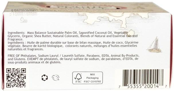 洗澡,美容,肥皂,乳木果油 - South of France, Climbing Wild Rose, French Milled Oval Soap with Organic Shea Butter, 6 oz (170 g)