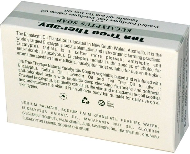 洗澡,美容,肥皂 - Tea Tree Therapy, Eucalyptus Soap, 3.5 oz (99.2 g) Bar