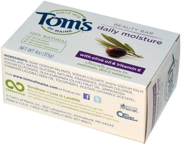 洗澡,美容,肥皂 - Toms of Maine, Natural Beauty Bar, Daily Moisture with Olive Oil & Vitamin E, 4 oz (113 g)