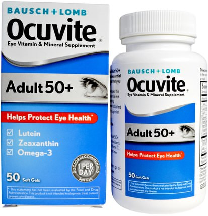 Adult 50 +, Eye Vitamin & Mineral Supplement, 50 Soft Gels by Bausch & Lomb Ocuvite, 維生素,多種維生素 - 老年人,bausch&lomb ocuvite HK 香港