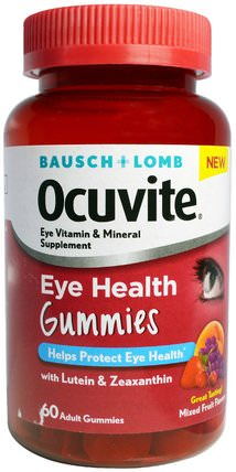 Eye Health Gummies, Mixed Fruit Flavors, 60 Adult Gummies by Bausch & Lomb Ocuvite, 補充劑,抗氧化劑,bausch&lomb,葉黃素 HK 香港