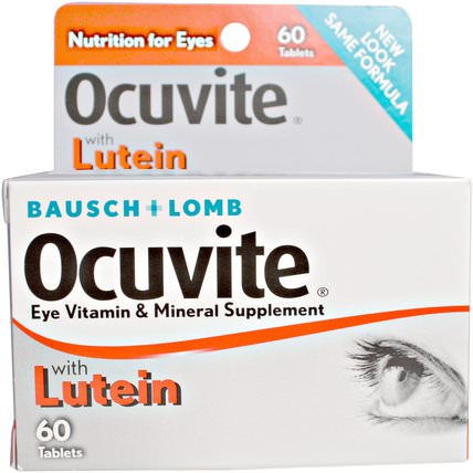 With Lutein, Eye Vitamin & Mineral Supplement, 60 Tablets by Bausch & Lomb Ocuvite, 葉黃素,健康,眼部護理,視力保健,bausch&lomb ocuvite HK 香港