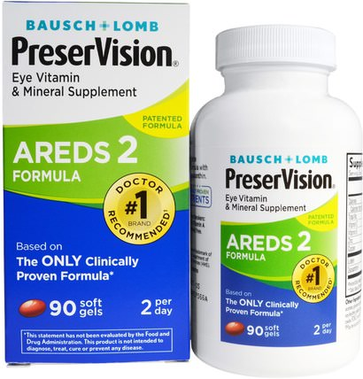 AREDS 2 Formula, 90 Soft Gels by Bausch & Lomb PreserVision, 健康,眼保健,視力保健,bausch&lomb preservision HK 香港