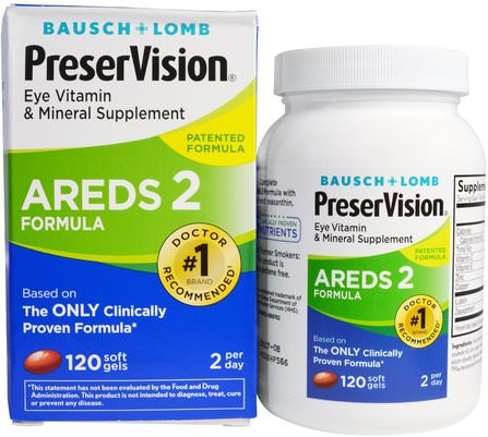 AREDS 2 Formula, Eye Vitamin & Mineral Supplement, 120 Soft Gels by Bausch & Lomb PreserVision, 健康,眼睛保健,視力保健,視力,bausch和lomb preservision HK 香港