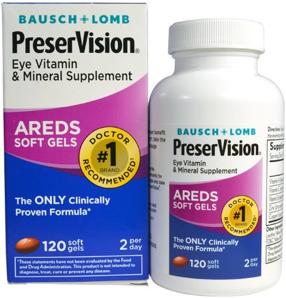 AREDS, Eye Vitamin & Mineral Supplement, 120 Soft Gels by Bausch & Lomb PreserVision, 健康,眼睛保健,視力保健,視力,bausch和lomb preservision HK 香港