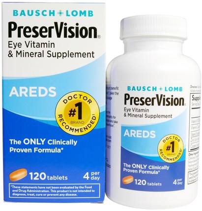 AREDS, Eye Vitamin & Mineral Supplement, 120 Tablets by Bausch & Lomb PreserVision, 健康,眼睛保健,視力保健,視力,bausch和lomb preservision HK 香港