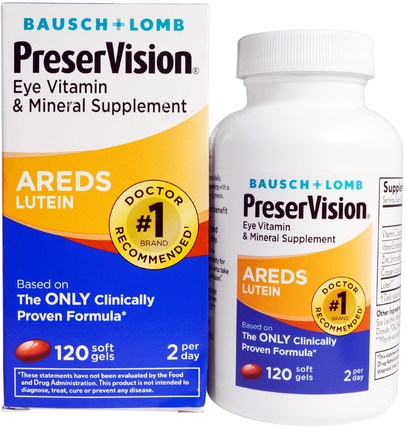 AREDS Lutein, Eye Vitamin & Mineral Supplement, 120 Soft Gels by Bausch & Lomb PreserVision, 健康,眼睛保健,視力保健,視力,bausch和lomb preservision HK 香港