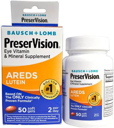 AREDS Lutein, Eye Vitamin & Mineral Supplement, 50 Soft Gels by Bausch & Lomb PreserVision, 葉黃素,健康,眼部護理,視力保健,bausch&lomb preservision HK 香港
