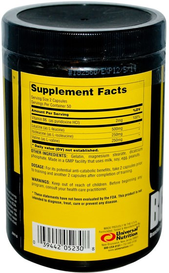 bcaa(支鏈氨基酸),運動,肌肉 - Universal Nutrition, BCAA Pro, Branched-Chain Amino Acid Supplement, 100 Capsules