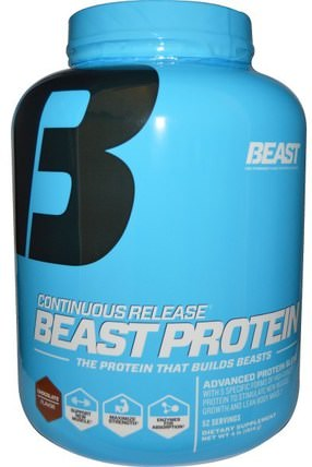 Beast Protein, Continuous Release, Chocolate Flavor, 4 lbs (1814 g) by Beast Sports Nutrition, 補品,蛋白質,肌肉 HK 香港