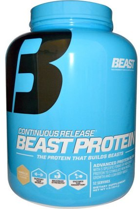 Beast Protein, Continuous Release, Vanilla, 4 lbs (1814 g) by Beast Sports Nutrition, 補品,蛋白質,肌肉 HK 香港