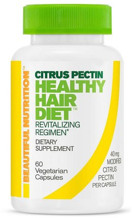 Healthy Hair Diet, Citrus Pectin, 60 Vegetarian Capsules by Beautiful Nutrition, 補充劑,纖維,柑橘果膠改性 HK 香港