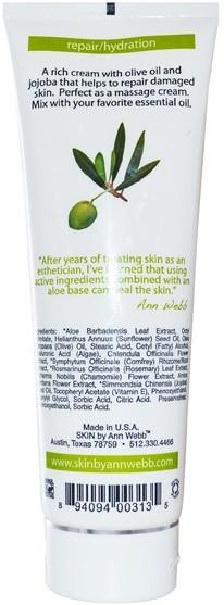 美容,面部護理,面霜,乳液,沐浴,潤膚露 - Skin By Ann Webb, Face & Body Cream, Unscented, 8 fl oz