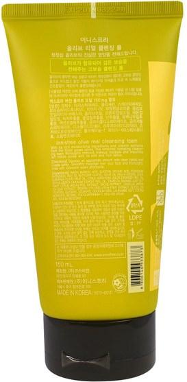 美容,面部護理,洗面奶,沐浴 - Innisfree, Olive Real Cleansing Foam, 5 oz (150 ml)