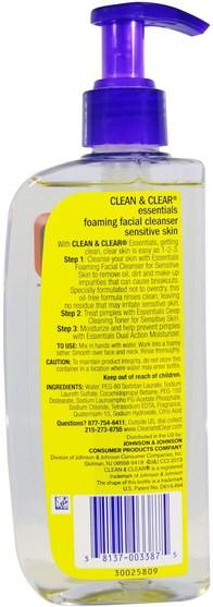 美容,面部護理,洗面奶 - Clean & Clear, Essentials, Foaming Facial Cleanser, 8 fl oz (240 ml)