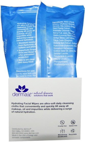 美容,面部護理,潔面乳,真皮保濕系列 - Derma E, Hydrating Facial Wipes, 25 Pre-Moistened Compostable Wipes
