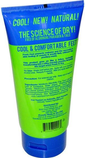 美容,面部護理,麥盧卡蜂蜜護膚,沐浴,霜足 - Fresh Body, Fresh Feet, 5 fl oz (148 ml)