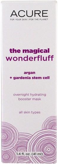 美容,面部護理,皮膚,面膜 - Acure Organics, The Magical Wonderfluff, Argan Plus Gardenia Stem Cell, 1.4 fl oz (41 ml)
