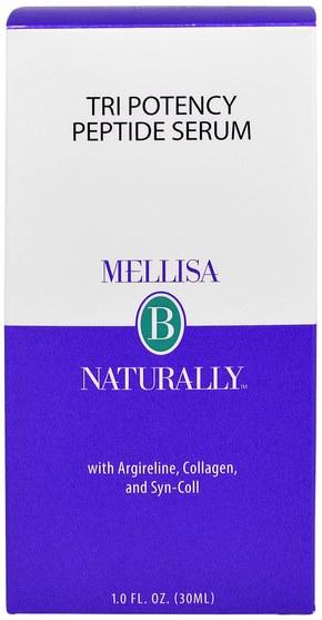 美容,面部護理,皮膚血清 - Mellisa B. Naturally, Tri Potency Peptide Serum, 1.0 fl oz (30 ml)