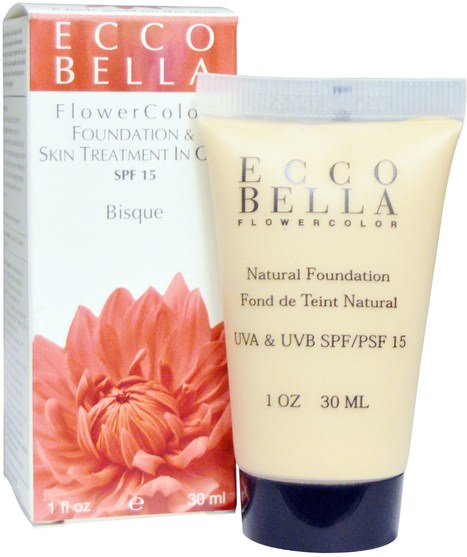 美容,面部護理,spf面部護理,沐浴,化妝 - Ecco Bella, FlowerColor, Foundation & Skin Treatment In One, SPF 15, Bisque, 1 fl oz (30 ml)