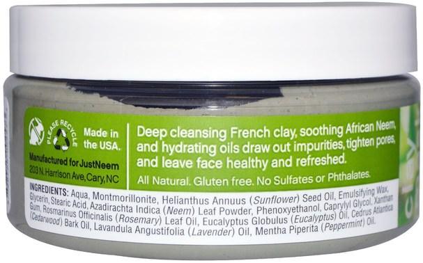 美容,面膜,泥面膜,沐浴,油 - Just Neem, Neem Clay Mask, 7 oz (199 g)