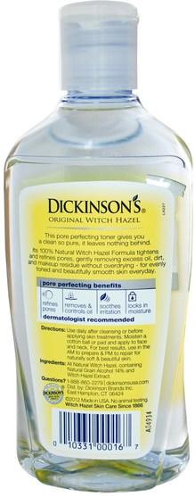 美容,面部調色劑,皮膚,金縷梅 - Dickinson Brands, Original Witch Hazel, Pore Perfecting Toner, 16 fl oz (473 ml)