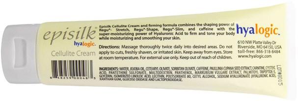 美容,透明質酸皮膚,抗衰老 - Hyalogic Episilk, Cellulite Cream, 4.58 oz (130 g)