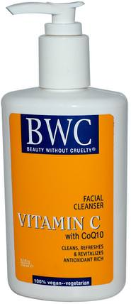 Vitamin C, With CoQ10, Facial Cleanser, 8.5 fl oz (250 ml) by Beauty Without Cruelty, 美容,面部護理,皮膚,維生素c HK 香港