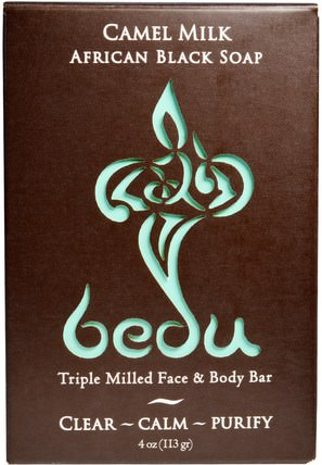 Triple Milled Face & Body Bar, Camel Milk African Black Soap, 4 oz (113 g) by One with Nature, 洗澡,美容,肥皂,面部護理,洗面奶 HK 香港