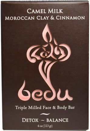 One with Nature, Triple Milled Face & Body Bar, Camel Milk Moroccan Clay & Cinnamon, 4 oz (113 g) 洗澡,美容,肥皂