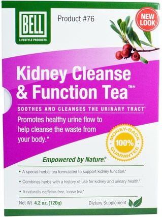 Kidney Cleanse & Function Tea, 4.2 oz (120 g) by Bell Lifestyle, 健康,排毒,鈴聲生活方式特定的條件 HK 香港